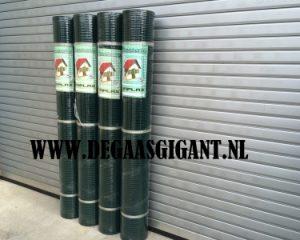 Cavatorta Volieregaas groen geplastificeerd 200 cm hoog. Esaplax gaas. Maaswijdte 12