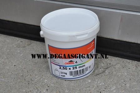 krammen crapal 2,5 x 25 mm. 5 kg.   De Gaasgigant krammen