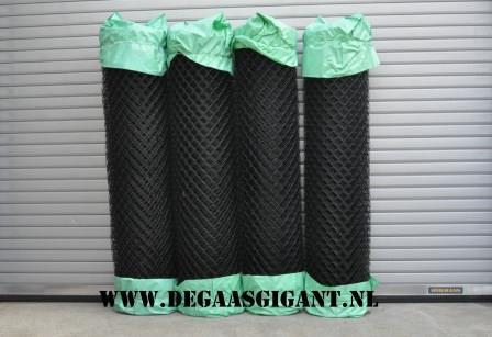 Harmonicagaas zwart geplastificeerd 200 cm.   De Gaasgigant harmonicagaas