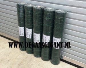 Zeskantgaas groen geplastificeerd te koop. Maaswijdte geplastificeerd dubbeltjesgaas 13 mm. Hoogte 100 cm. Draaddikte 1