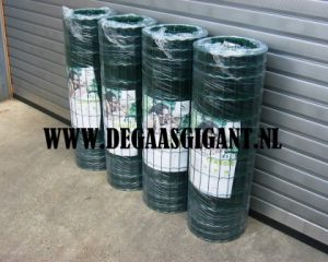 Zwaar tuingaas groen geplastificeerd goedkoop kopen? Hoogte 100 cm. Draaddikte 2