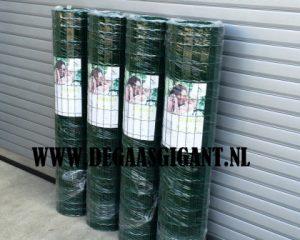 Zwaar tuingaas groen geplastificeerd voordelig kopen? Hoogte 150 cm. Draaddikte 2