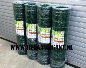 Tuingaas groen geplastificeerd 120 cm hoog te koop bij De Gaasgigant. Maaswijdte 5 x 10 cm. Draaddikte 1