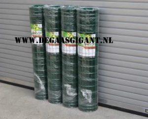 Tuingaas goedkoop kopen? Groen geplastificeerd Tuingaas 150 cm. hoog. Maaswijdte 5 x 10 cm. Draaddikte 1