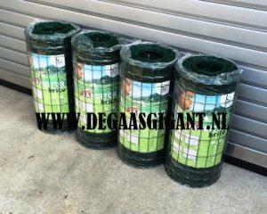 Tuingaas groen geplastificeerd 60 cm hoog te koop bij De Gaasgigant. Maaswijdte 5 x 10 cm. Draaddikte 1