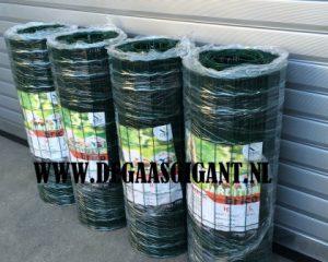 Aanbieding: Tuingaas groen geplastificeerd 80 cm hoog te koop bij De Gaasgigant. Maaswijdte 5 x 10 cm. Draaddikte 1